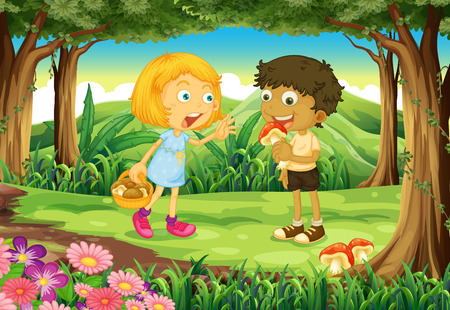 play poison: Illustration of the two kids in the middle of the forest