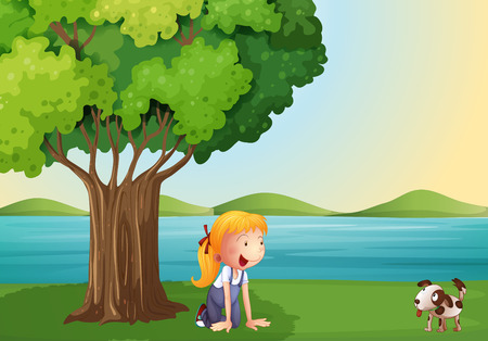 Illustration of a young girl and her pet near the tree Vector