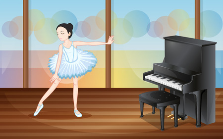 Illustration of a ballet dancer near the piano