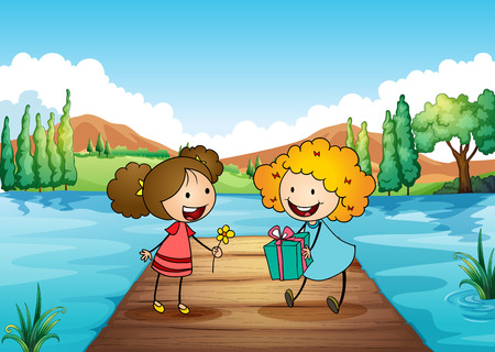 exchanging: Illustration of the two cute girls exchanging gifts at the river