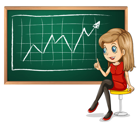 explain: Illustration of a girl explaining the graph while sitting down on a white background Illustration