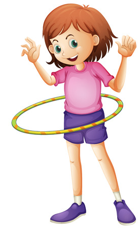 hulahoop: Illustration of a young girl playing hulahoop on a white background