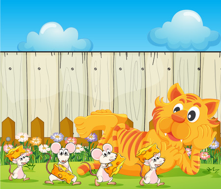 cartoon land: Illustration of a tiger and a group of rats at the backyard Illustration