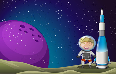 outerspace: Illustration of a smiling astronaut beside the rocket in the outerspace