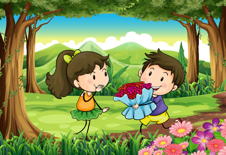 Illustration of a couple dating at the woods Vector
