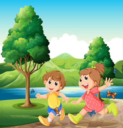 kids playing water: Illustration of the happy and energetic kids playing near the river