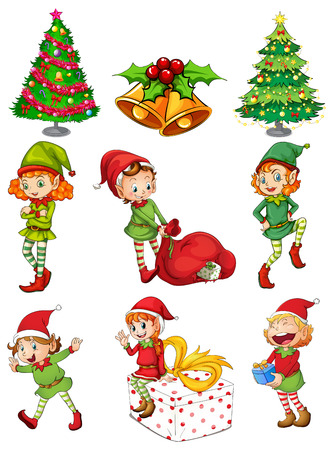 Illustratie van de kerst templates op een witte achtergrond Vector Illustratie