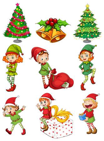 Ilustración de las plantillas de la navidad en un fondo blanco Vectores