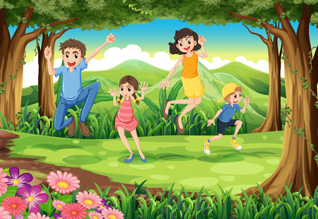 jungle jumping: Illustration of a family jumping in the forest