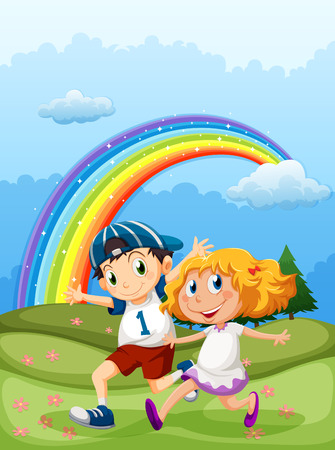 Illustration of a boy and a girl running with a rainbow in the sky Vector