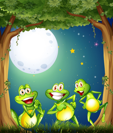 tree frogs: Illustration of the three playful frogs playing at the woods