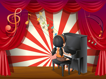 Illustration of a young pianist Vector