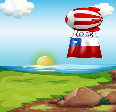 bandera de chile: Ilustración de un globo flotante que viaja con la bandera de Chile Vectores