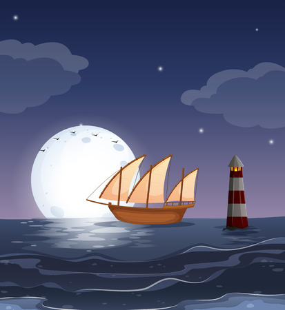 Illustration of a wooden boat in the ocean Vector