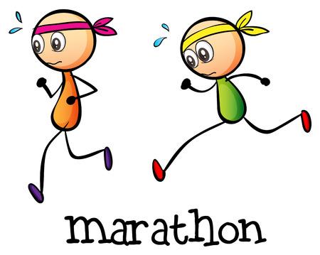 Illustratie van een marathon tussen twee stickmen op een witte achtergrond Stock Illustratie
