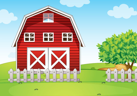 red barn: Illustration of a barnhouse at the hilltop
