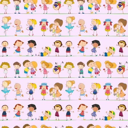 Illustration of a seamless design with kids on a white background Vector