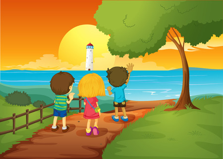 Illustration of the three kids watching the lighthouse Vector