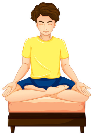 man meditating: Illustration of a man doing yoga in his bed on a white background