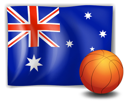 Illustration of the flag of Australia with a ball on a white background Illustration