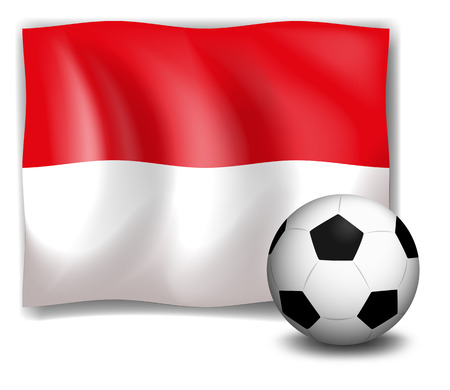 footwork: Illustration of the flag of Monaco with a soccer ball on a white background