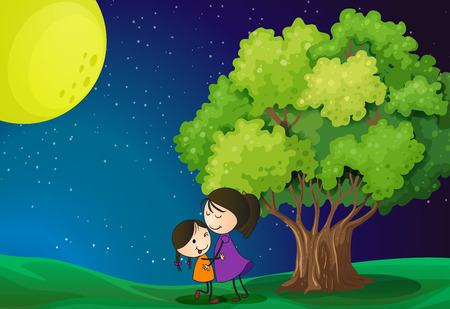 Illustration of a mother and her daughter near the tree Vector