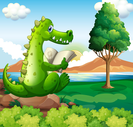 river rock: Illustration of a crocodile sitting above the rock while reading near the river