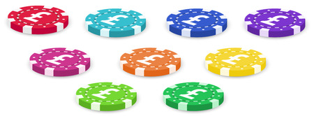 casino tokens: Illustration of a group of colorful poker chips on a white background