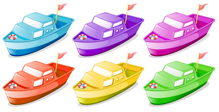 flaglets: Illustration of the six colorful boats on a white background