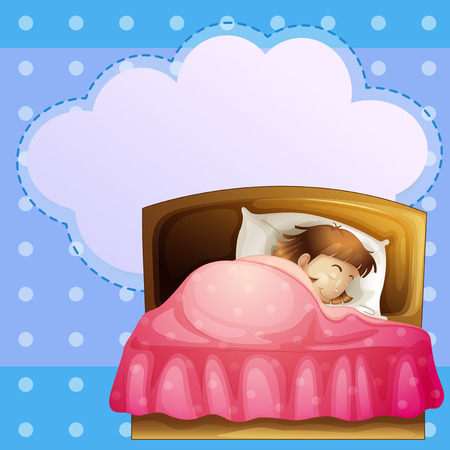 Illustration of a girl sleeping soundly with an empty callout Vector