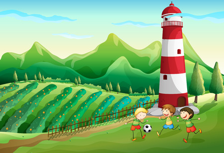 Illustration of a farm with children playing near the tower Illustration