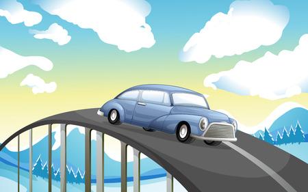 steel bridge: Illustration of a car at the road Illustration
