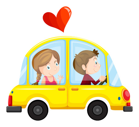 Illustration of a yellow car with a loving couple on a white background Vector