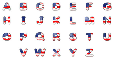 Illustration of the letters of the alphabet with the American flag on a white background