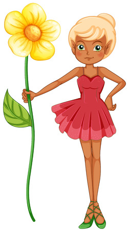 Illustration of a fairy holding a big flower on a white background Illustration