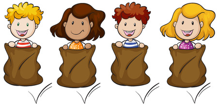 playmates: Ilustración de los cuatro niños saltando en el interior del saco en un fondo blanco