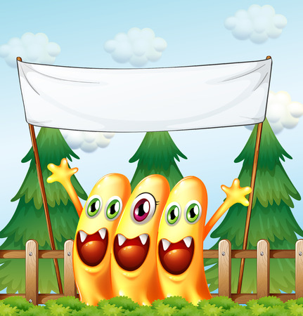 Illustration of the three monsters under the empty banner Vector