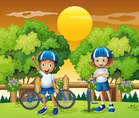 Illustration of the two adorable kids biking Vector
