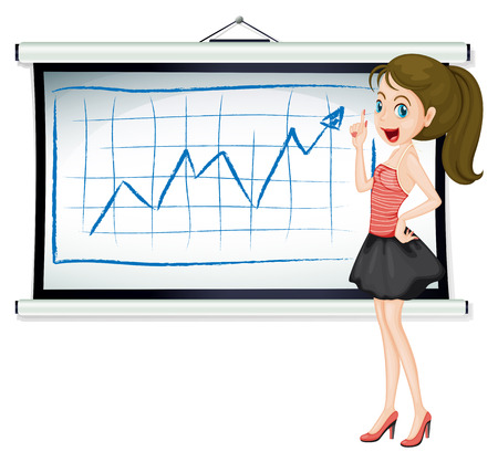 businesswoman skirt: Illustration of a pretty lady explaining the graph on a white background