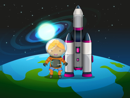 computerized: Illustration of an explorer beside the rocket standing above the earth