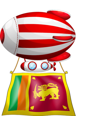 srilanka: Illustration of a floating balloon travelling with the flag of SriLanka on a white background