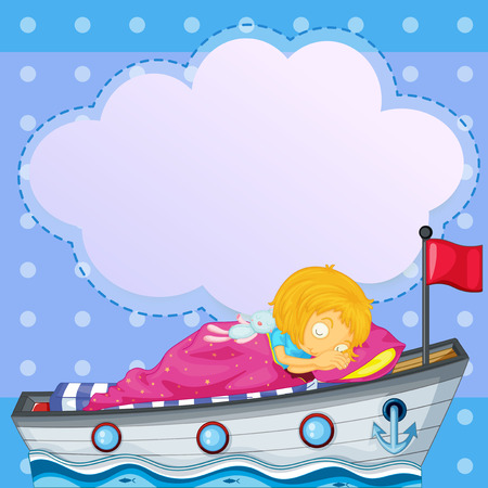toy boat: Illustration of a girl sleeping above the boat with an empty callout