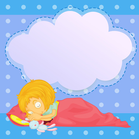 Illustration of a young girl sleeping with an empty callout Vector
