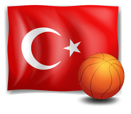 Illustration of the flag of Turkey with a ball on a white background