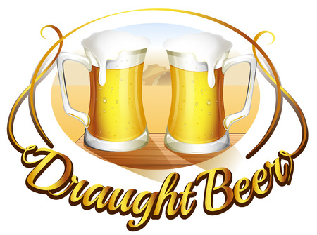 draught: Illustration of a draught beer label with two mugs of beer on a white background