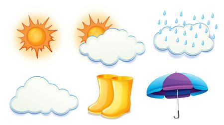 vapore acqueo: Illustrazione delle condizioni atmosferiche soleggiato, nuvoloso e piovoso su uno sfondo bianco Vettoriali