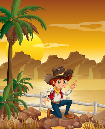 Illustration of a young cowboy at the desert near the rocks Vector