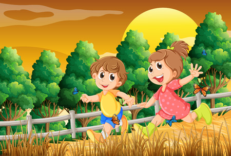 Illustration of the kids playing at the forest near the wooden fence Vector