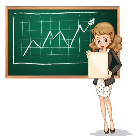 reporting: Illustration of a businesswoman reporting in front of the blackboard on a white background Illustration
