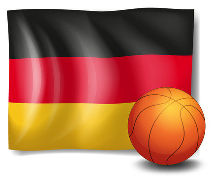 tricoloured: Illustration of the flag of Germany with a ball on a white background Illustration